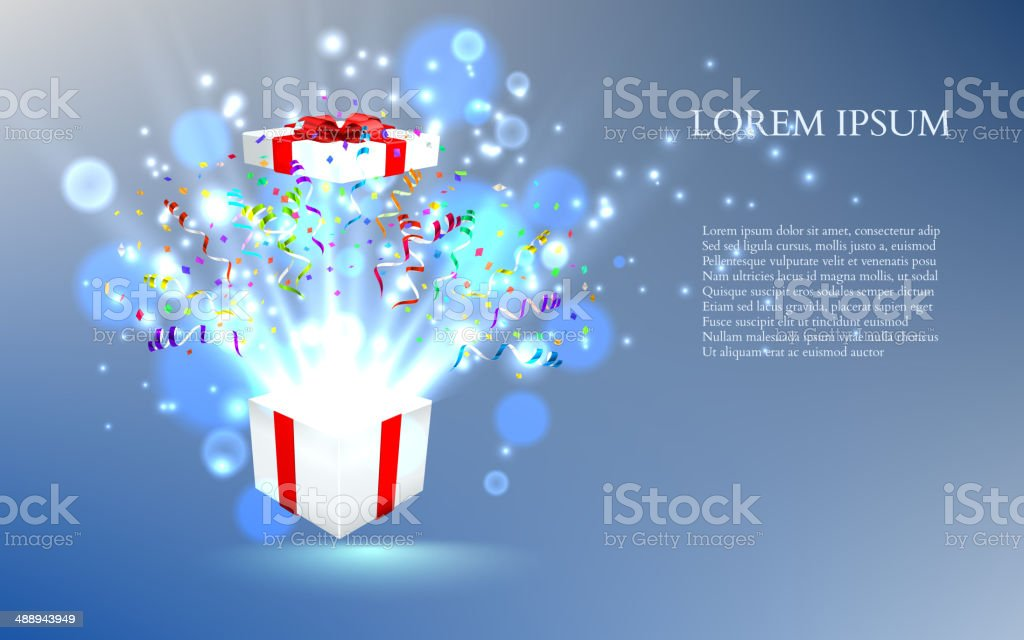 Open gift with fireworks from confetti. vector vector art illustration