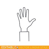 Open hand. Editable outline sketch icon.