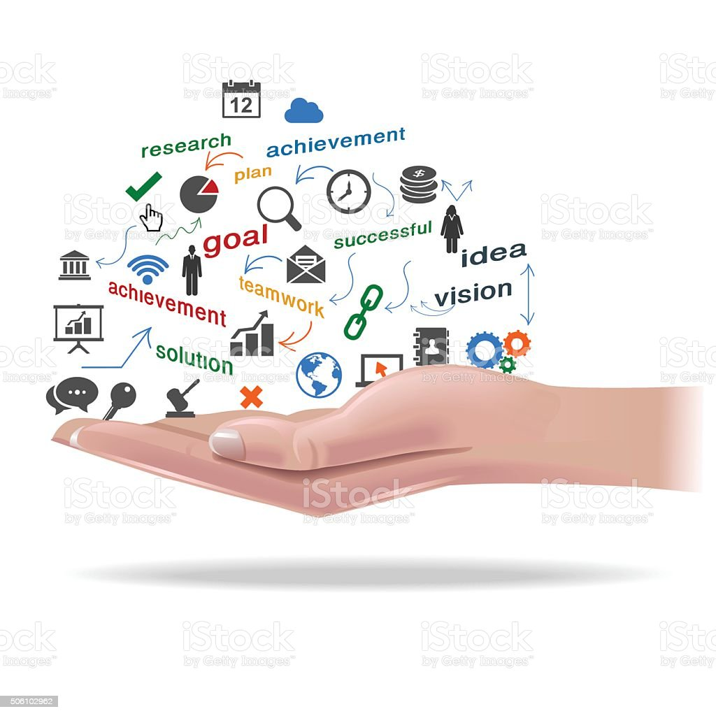 Open hand with Internet of Things vector art illustration