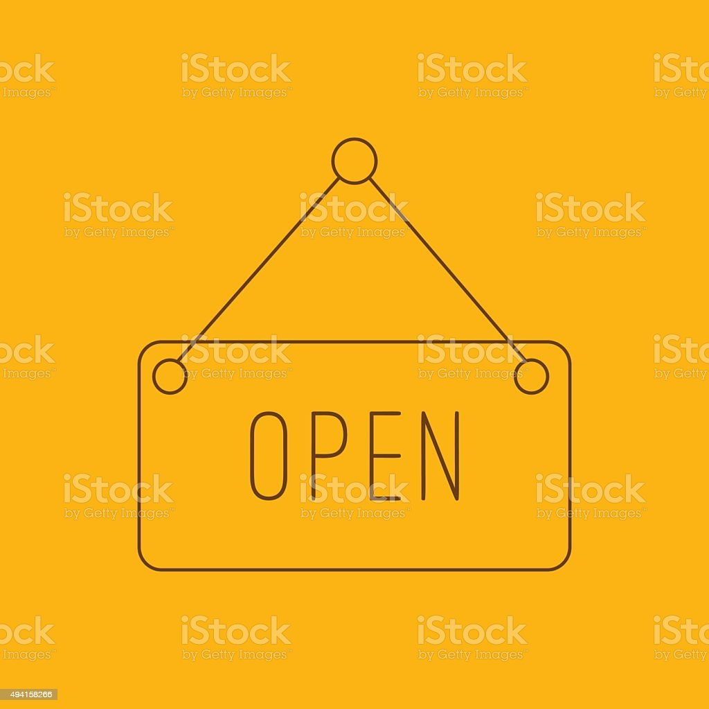 Open hanging sign line icon vector art illustration
