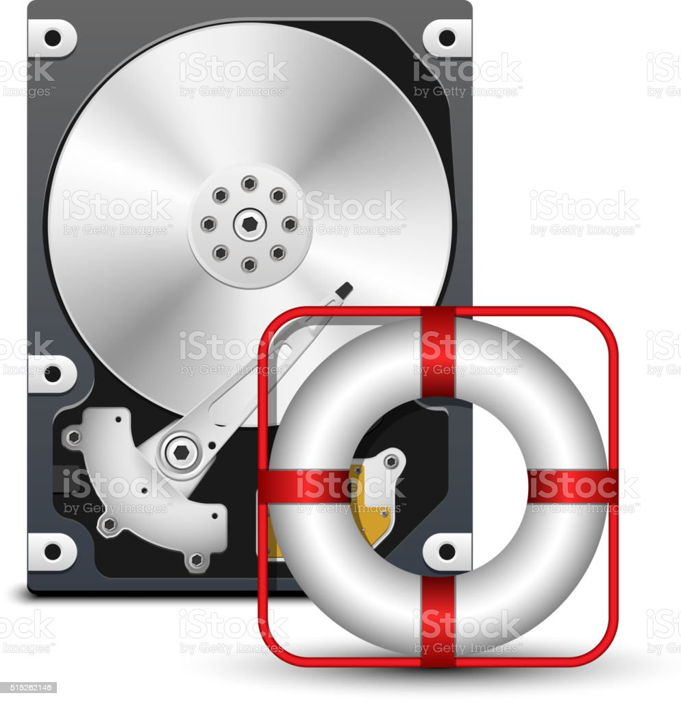 Open hard disk drive with life buoy vector art illustration