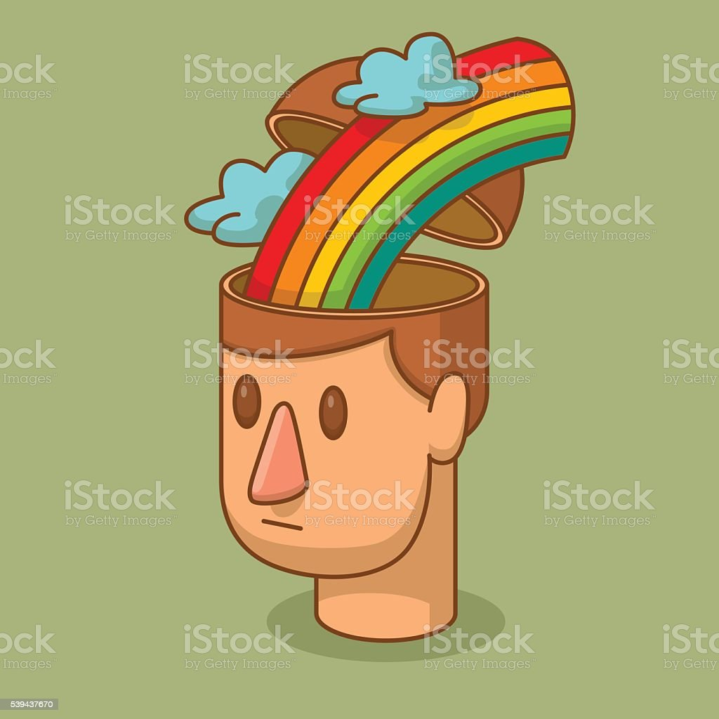 Open head of man with the rainbow and clouds vector art illustration