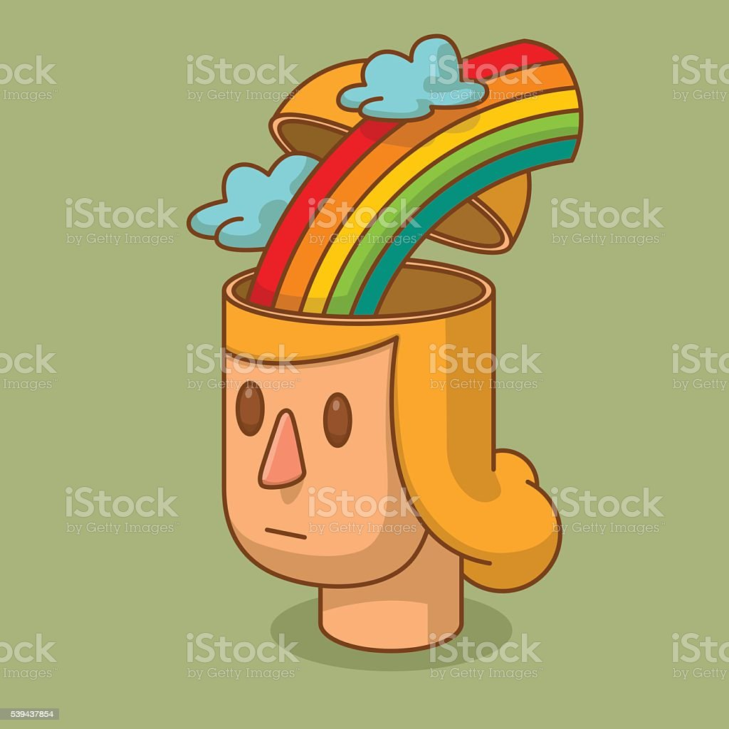 Open head of woman with the rainbow and clouds vector art illustration