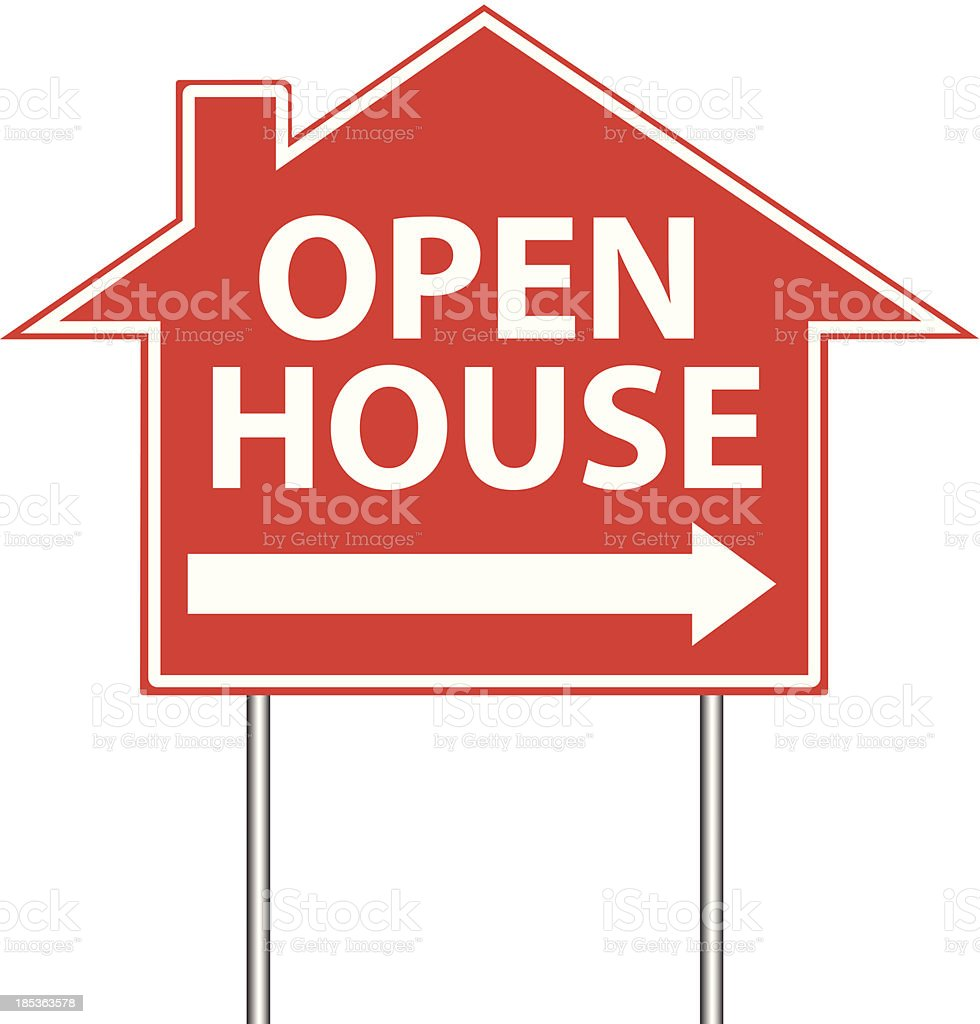 Open House Real Estate Sign royalty-free stock vector art