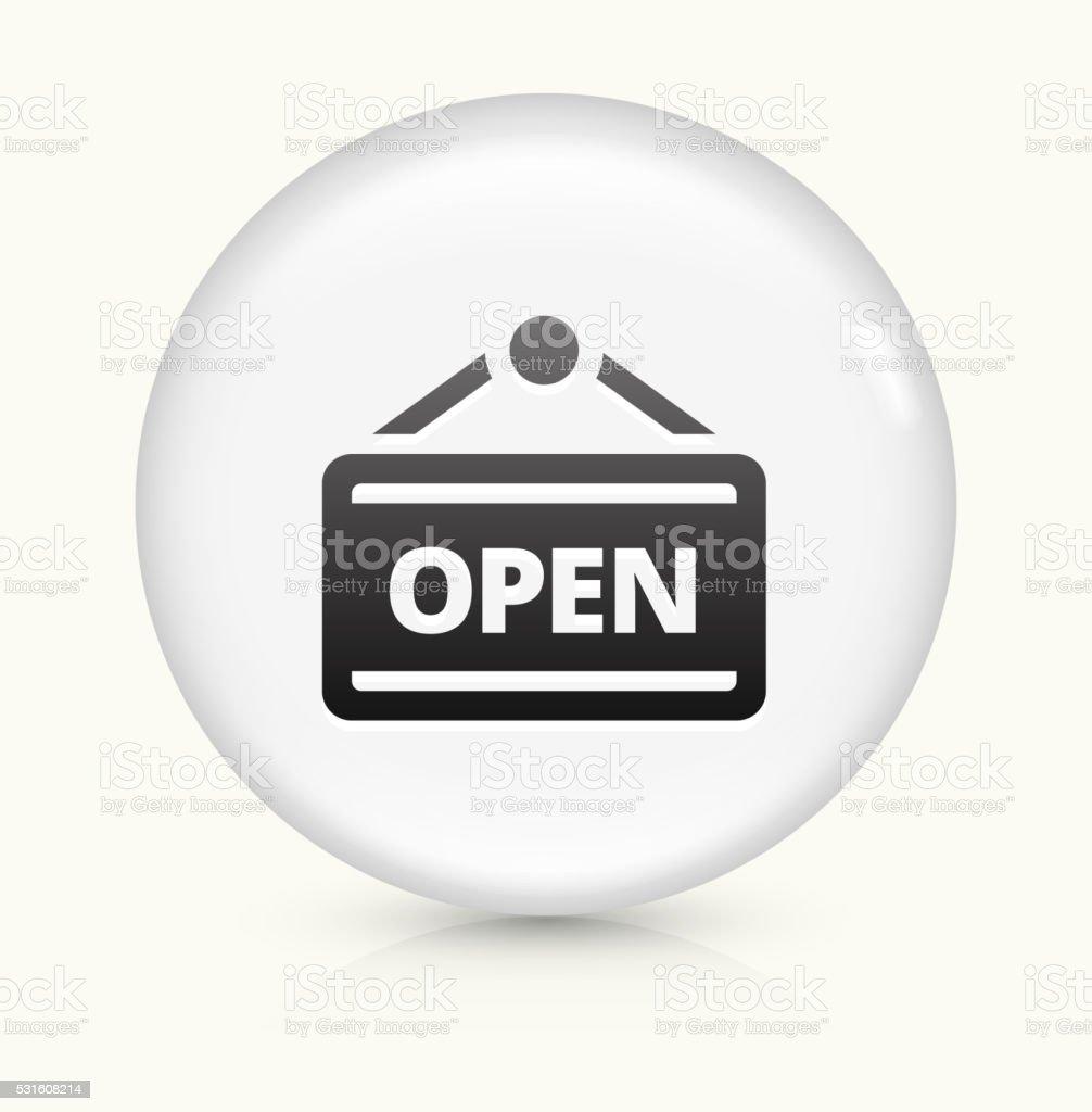 Open icon on white round vector button vector art illustration
