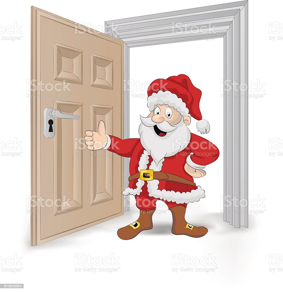 open isolated doorway frame with happy Santa Claus vector vector art illustration
