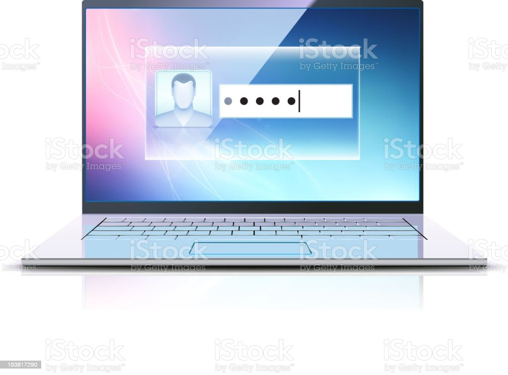 Open laptop with a password request image vector art illustration