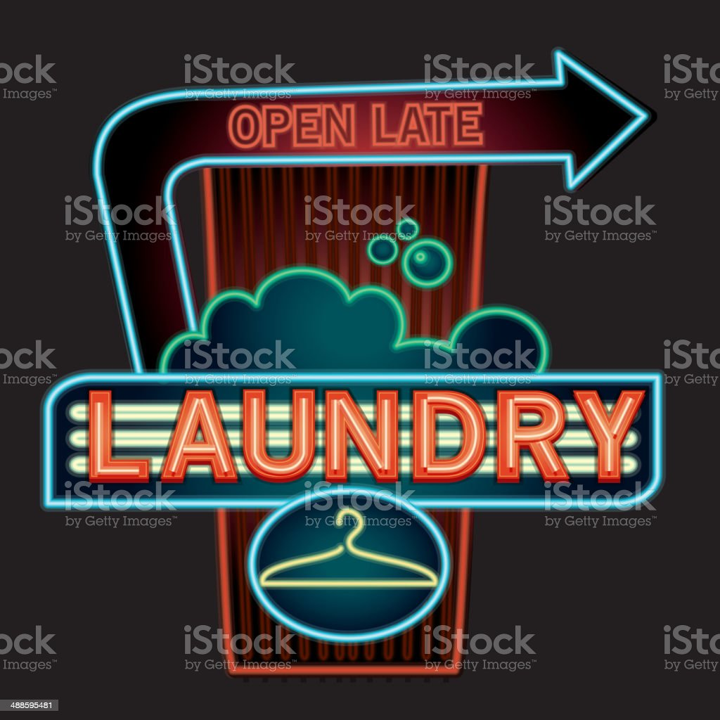 Open Late Coin Laundry neon sign vector art illustration