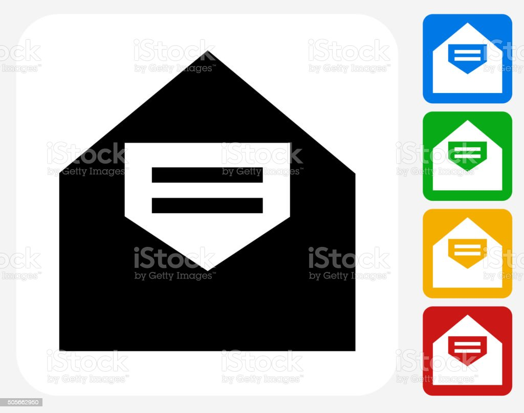 Open Letter Icon Flat Graphic Design vector art illustration
