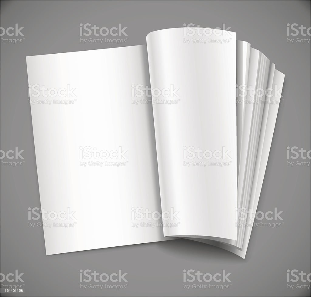 open magazine with blank white page royalty-free stock vector art