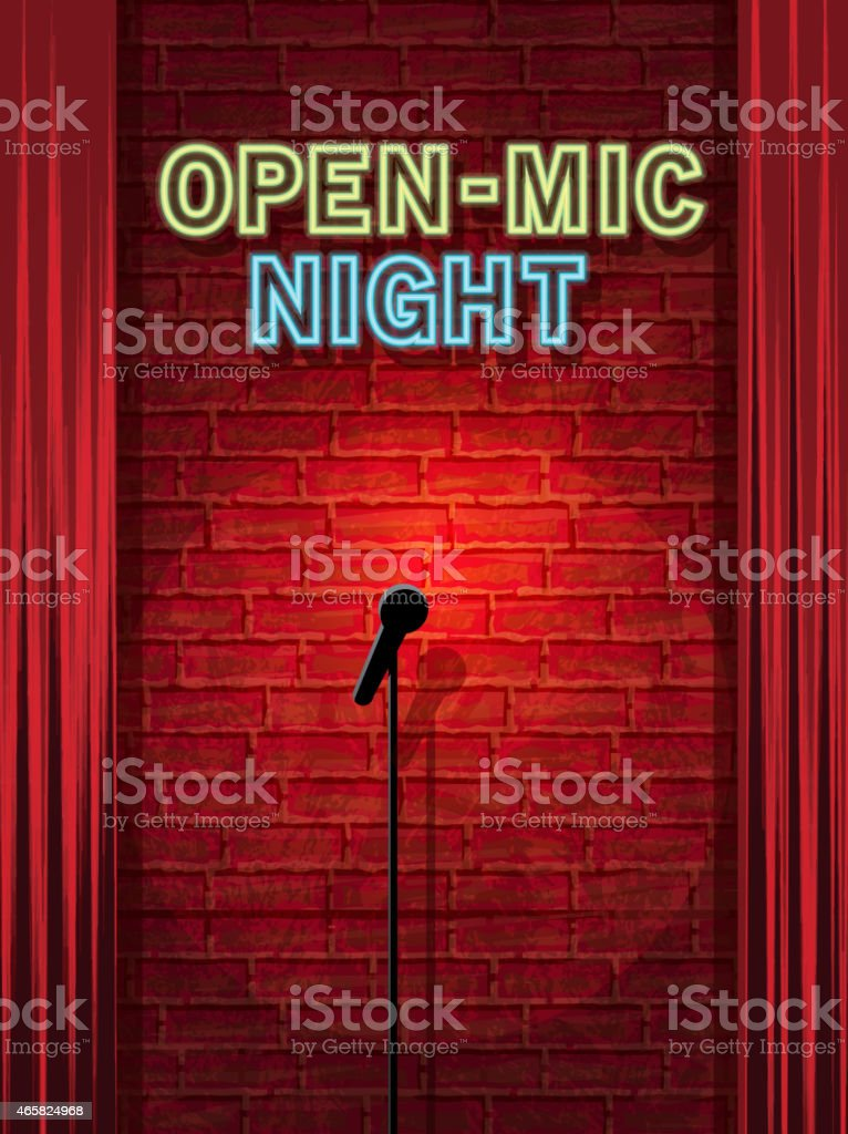 Open mic Night stage with neon sign and brick wall vector art illustration