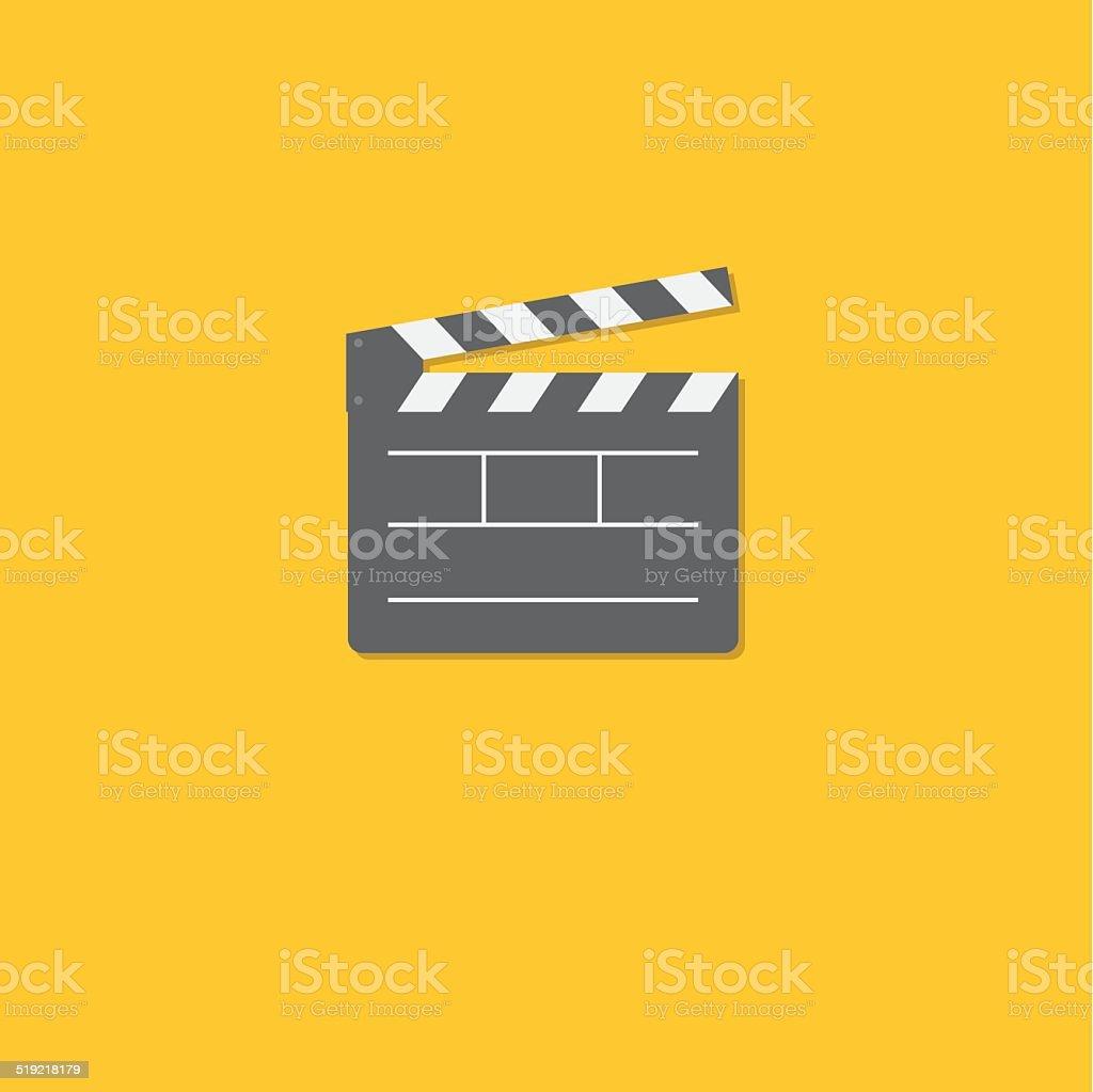 Open movie clapper board template icon. Flat design style. vector art illustration