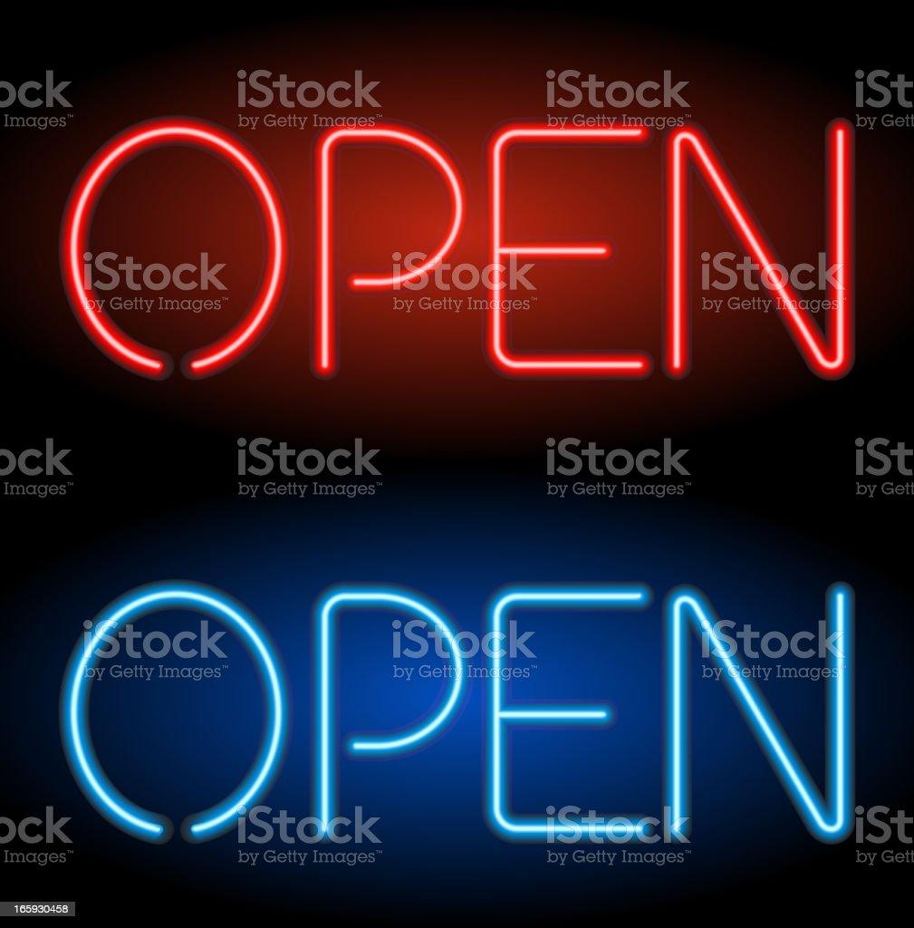 Open Neon Sign vector art illustration