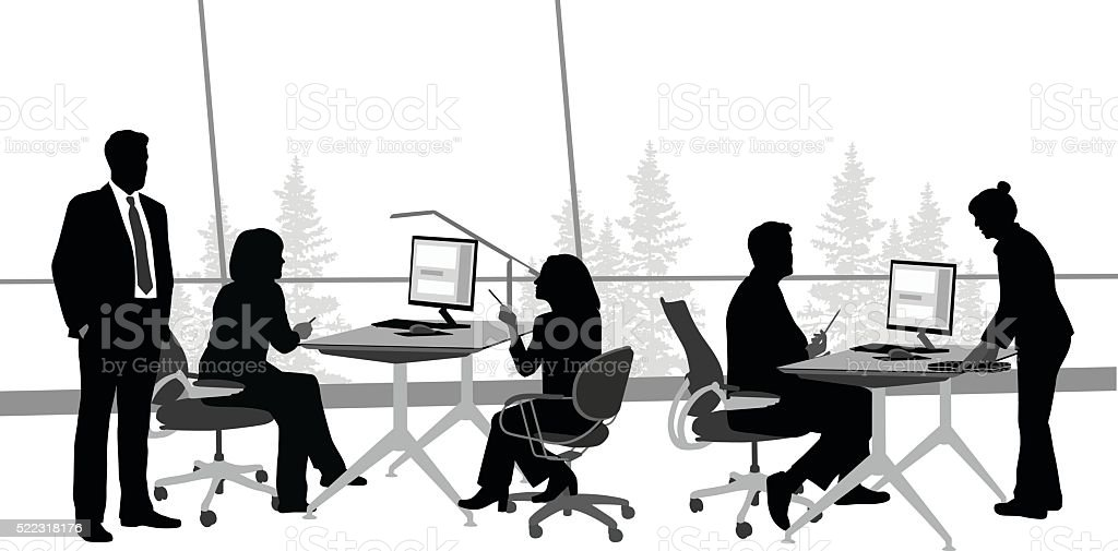Open Office Discussion vector art illustration