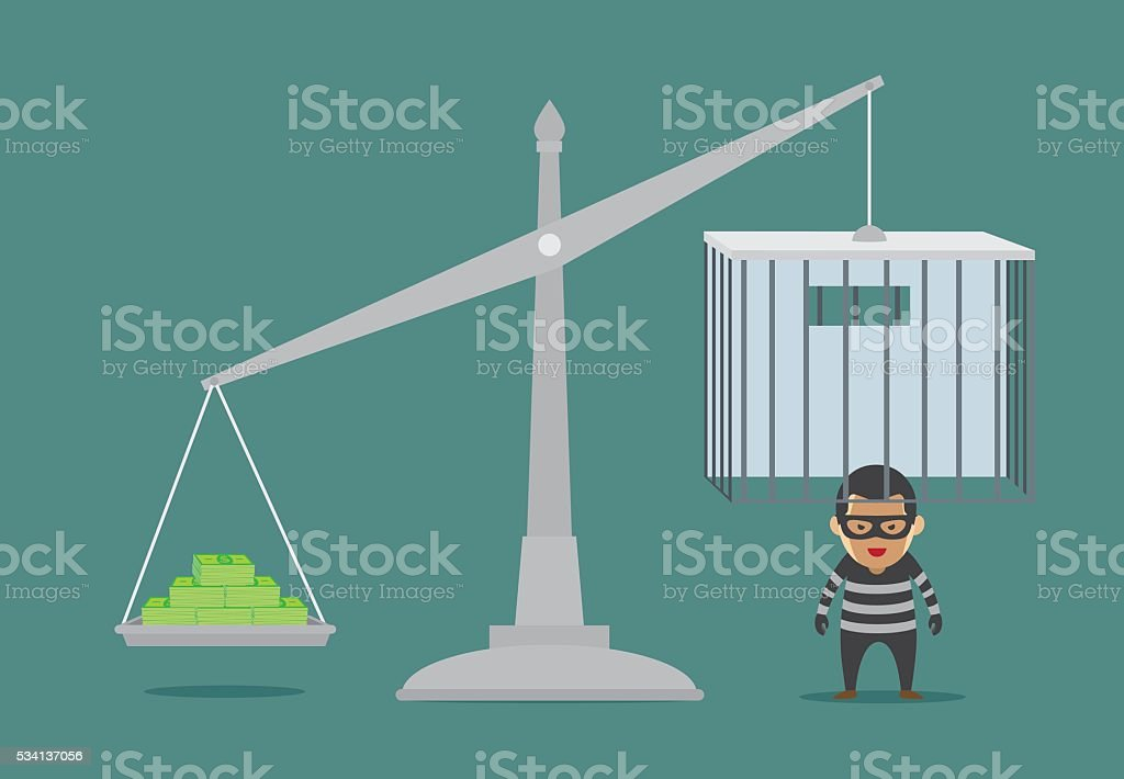 Open prison with money for prisoner release. vector art illustration