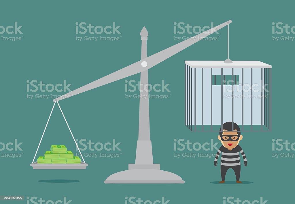 Open prison with money for prisoner release. vector art illustration
