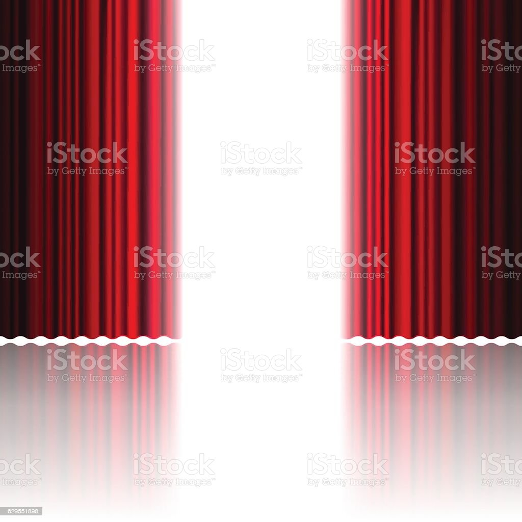 Open red curtains for theater vector art illustration