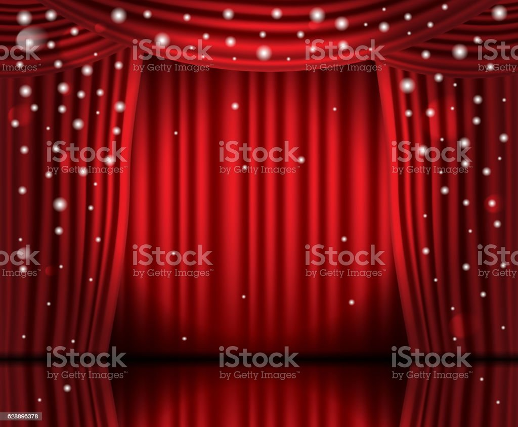 Open Red Curtains with Neon Lights and Copy Space. vector art illustration