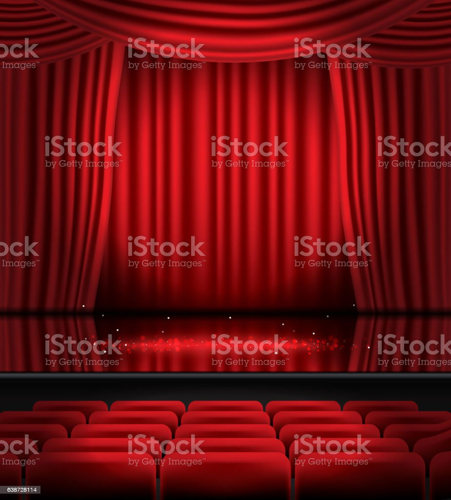 Open Red Curtains with Seats and Copy Space. vector art illustration