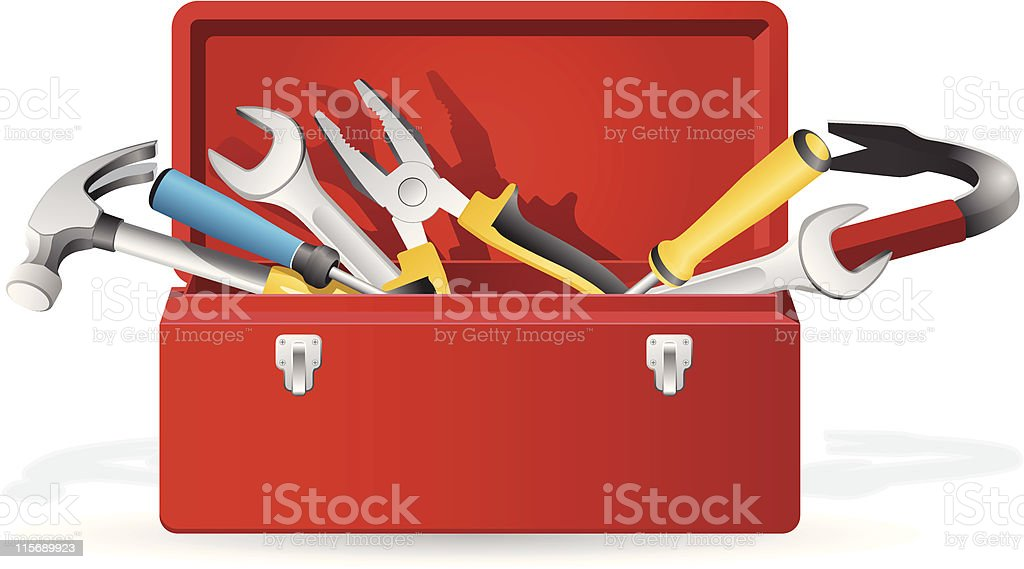Open red toolbox with tools inside vector art illustration