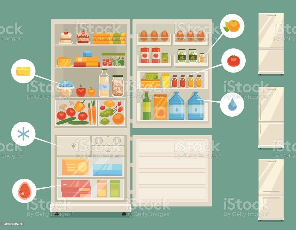 Open refrigerator full of fresh food vector art illustration