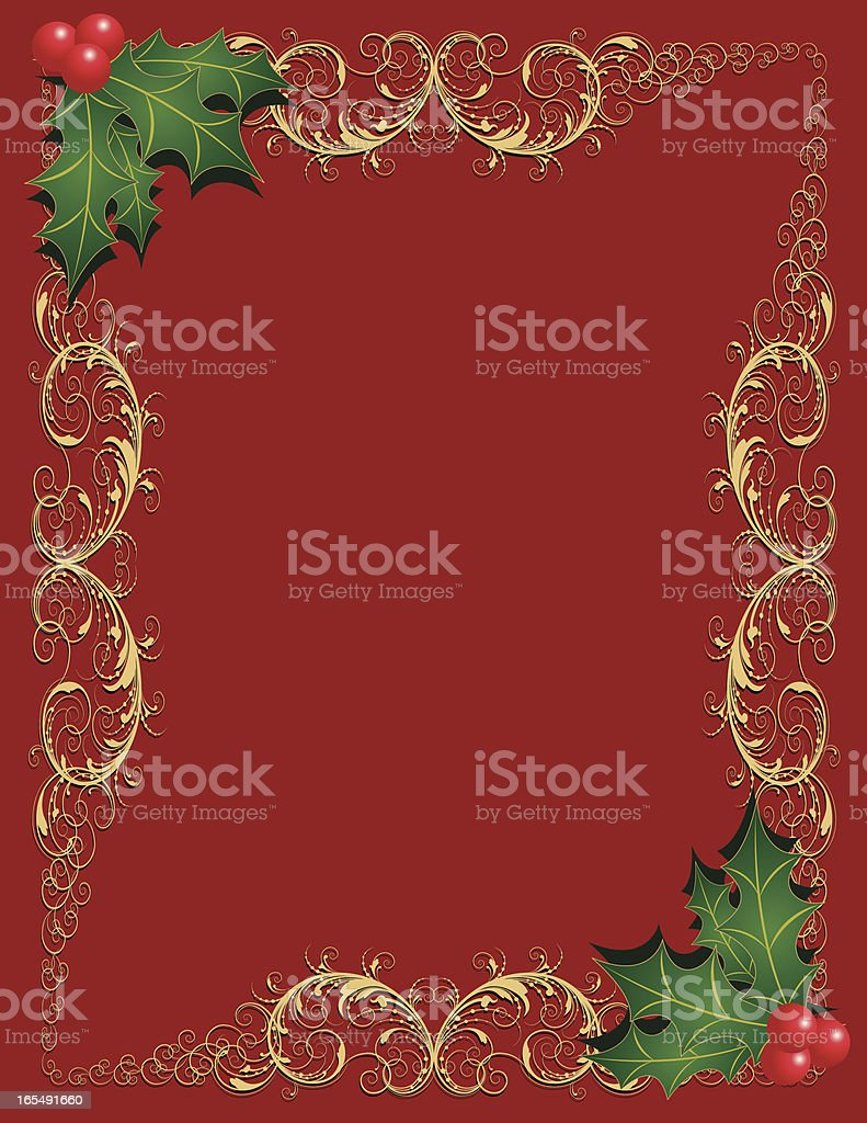 Open Scrollwork & Holly royalty-free stock vector art