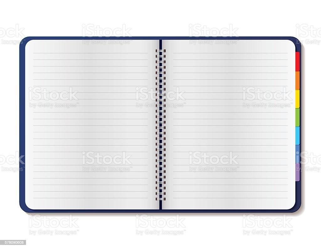 Open spiral notebook - Illustration vector art illustration