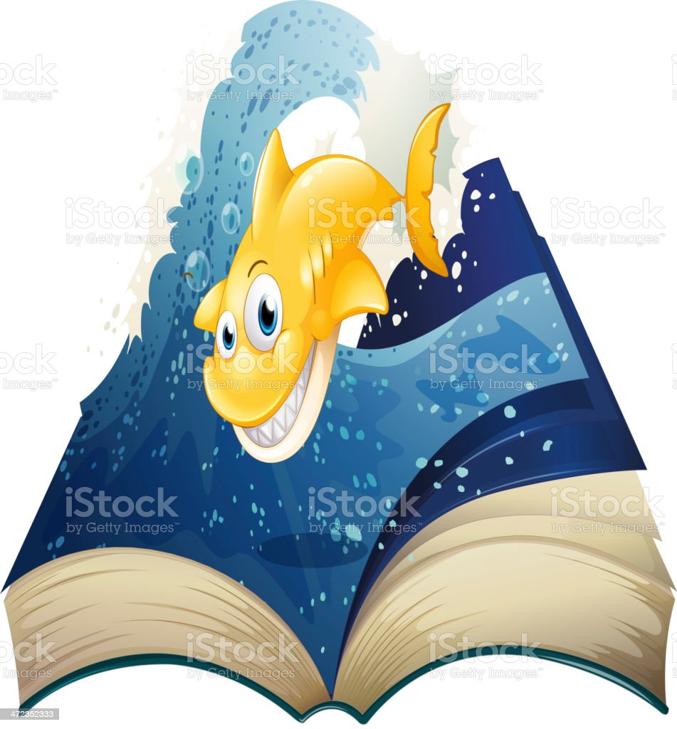 Open storybook with a smiling shark royalty-free stock vector art