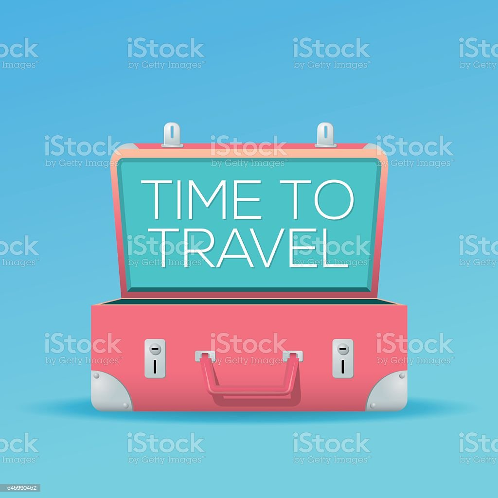 Open suitcase on a blue background vector art illustration