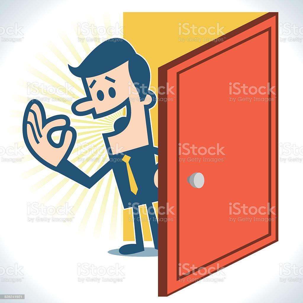 Open the door vector art illustration