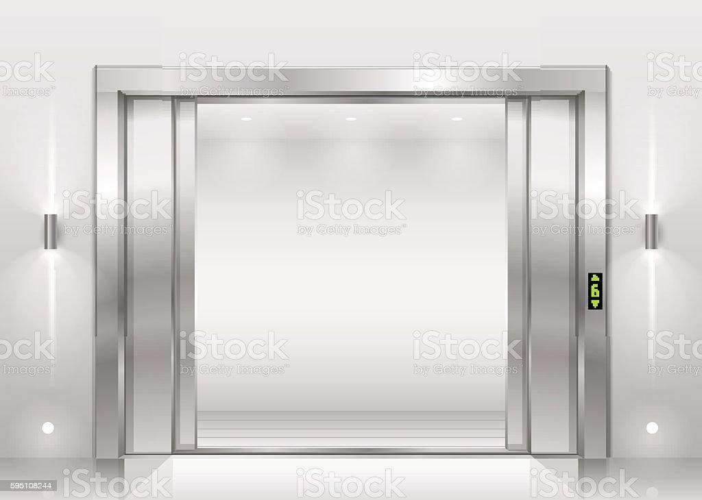 Open the elevator doors vector art illustration