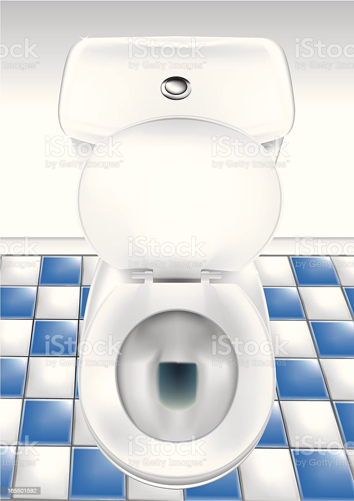 Open toilet bowl in bathroom with blue and white hone vector art illustration