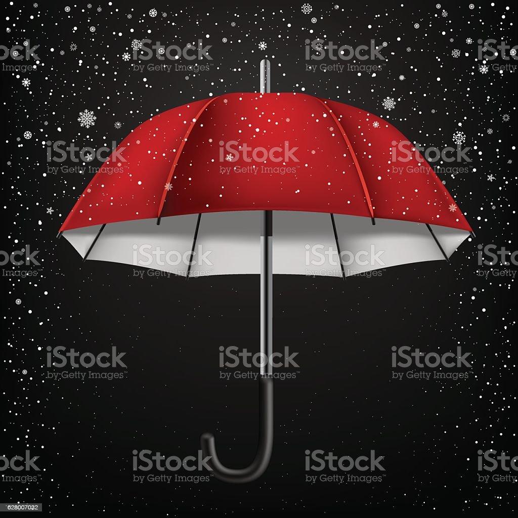 open umbrella and snow vector art illustration