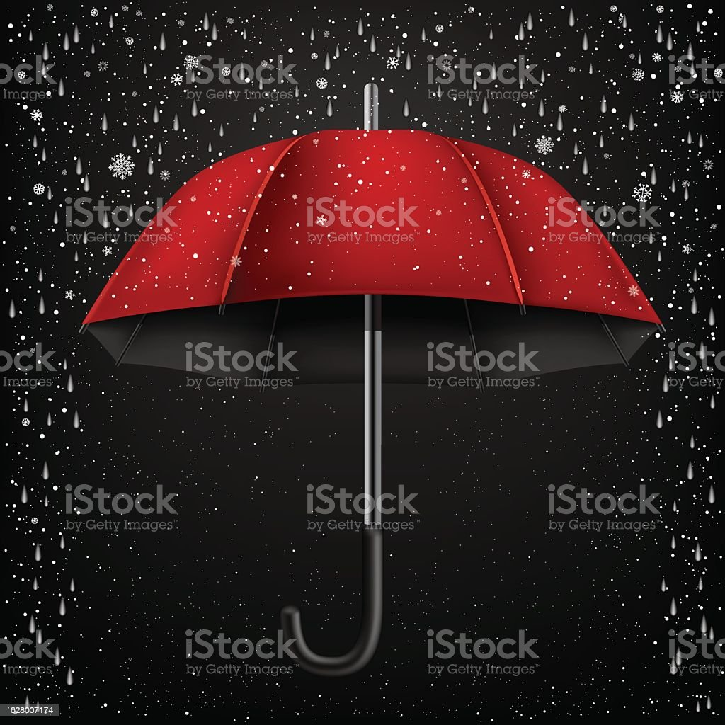 open umbrella snow and rain vector art illustration
