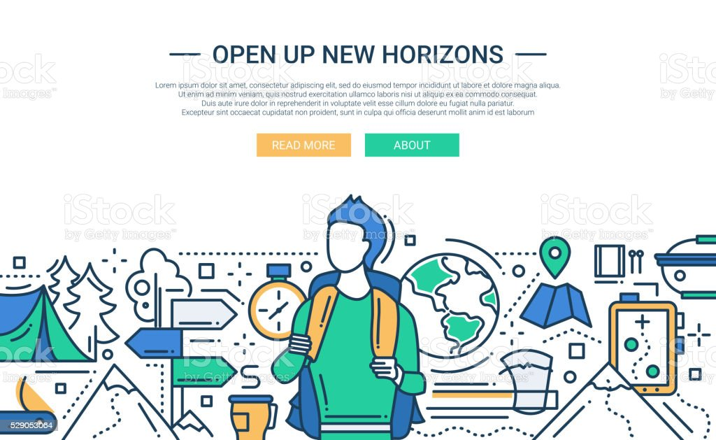 Open Up New Horizons - line design website banner vector art illustration