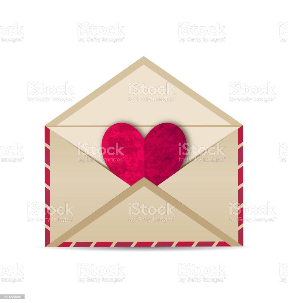 Open vintage envelope with paper grunge heart vector art illustration