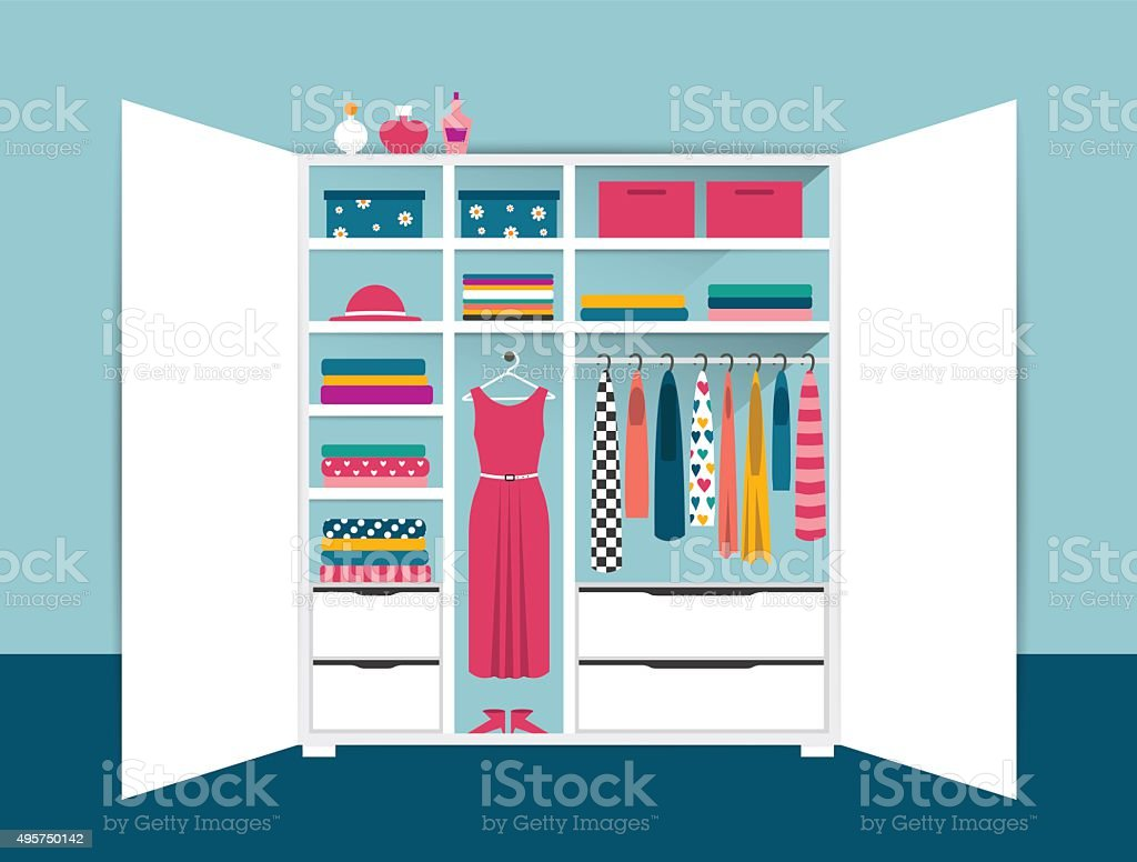 Open wardrobe. White closet with tidy clothes vector art illustration