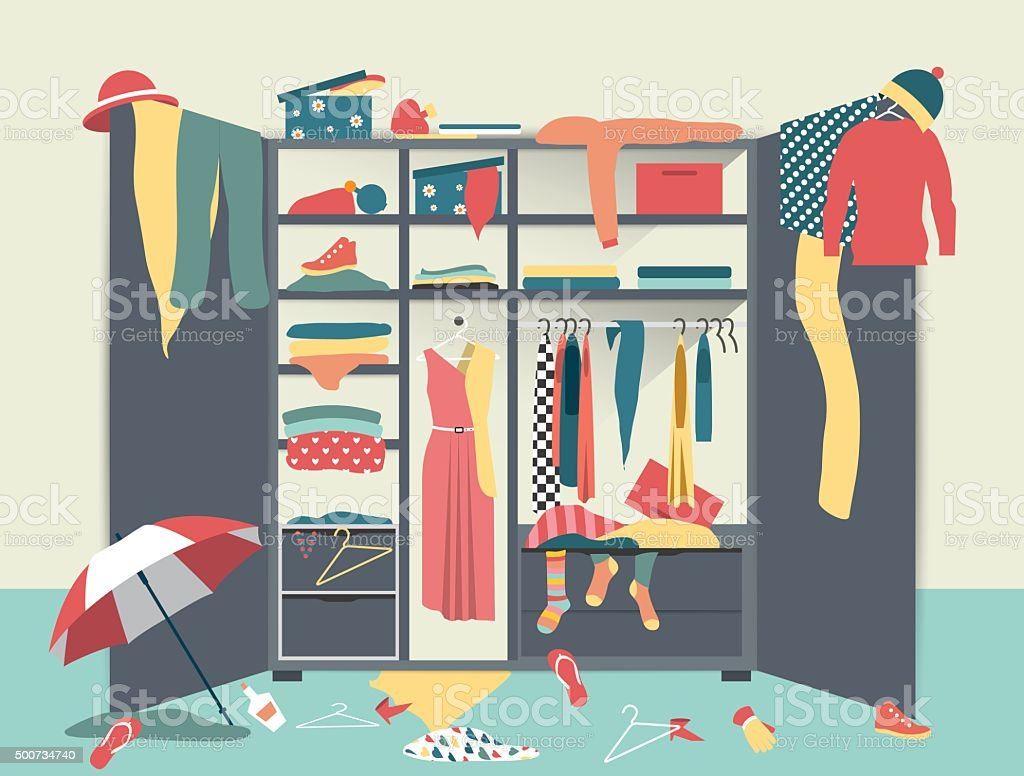 Open wardrobe. White closet with untidy clothes, shirts vector art illustration