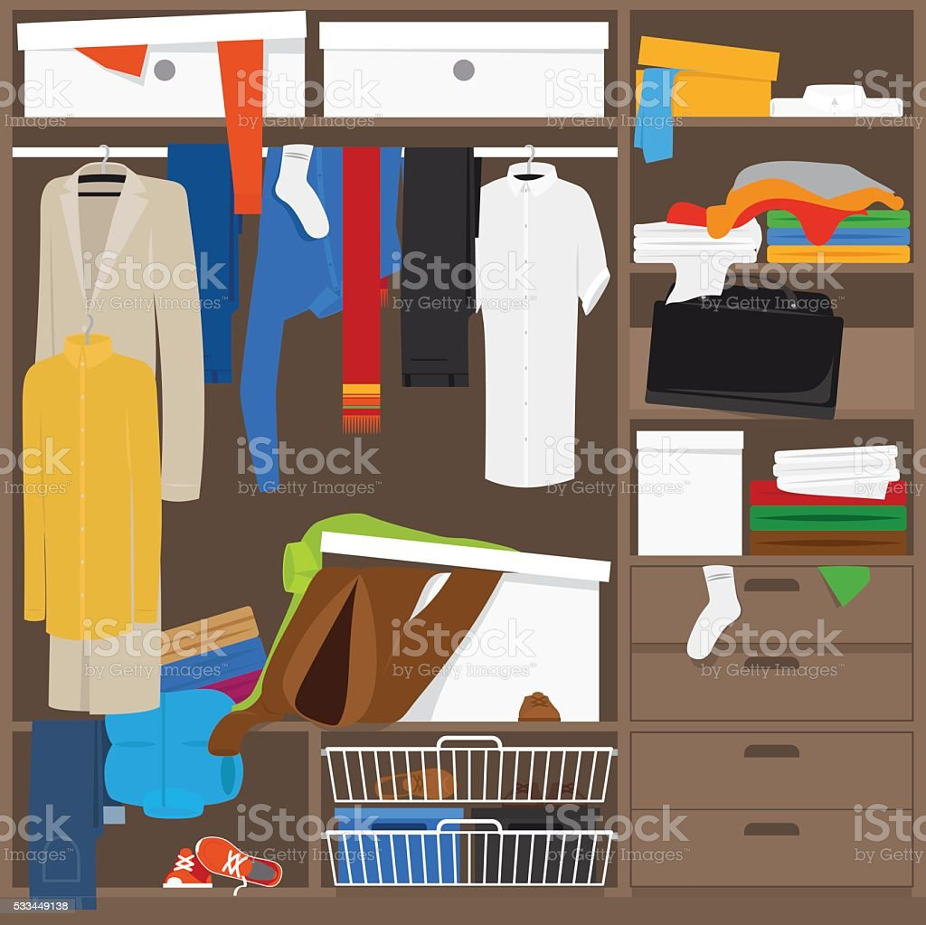 Open wardrobe with mess clothes vector art illustration