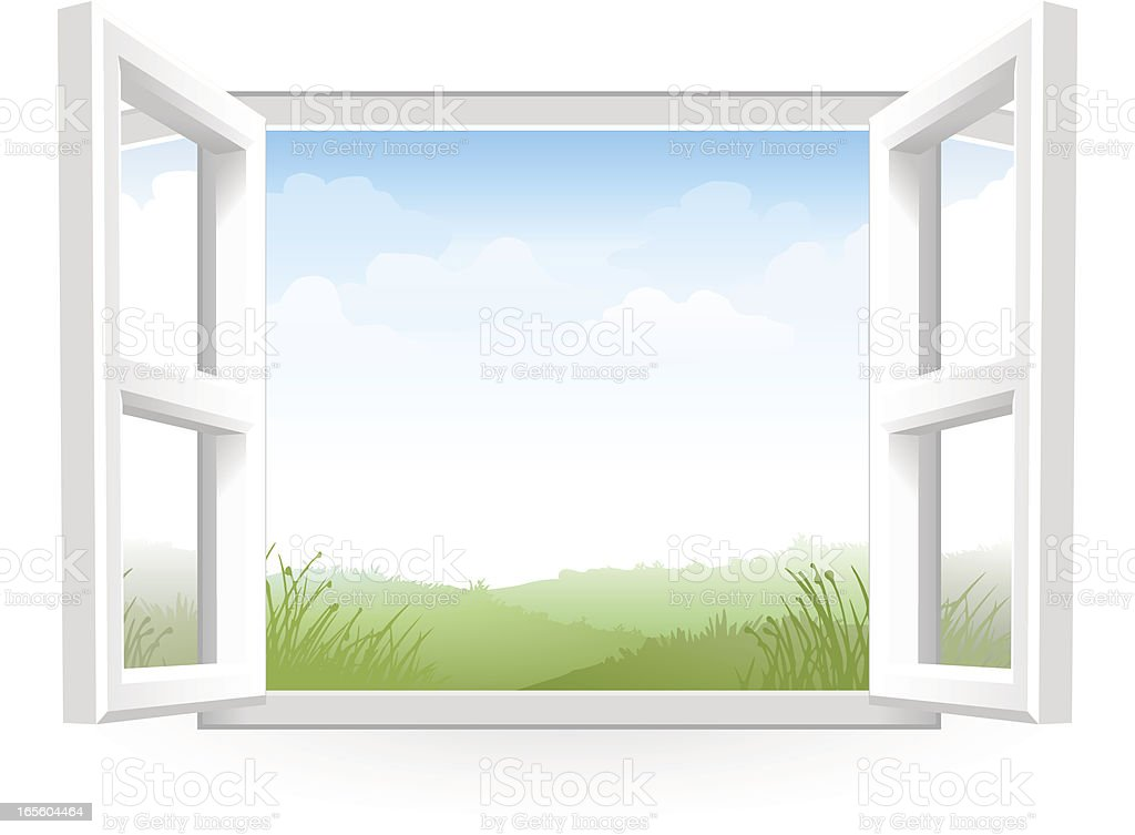 Open White Window with Scenery vector art illustration