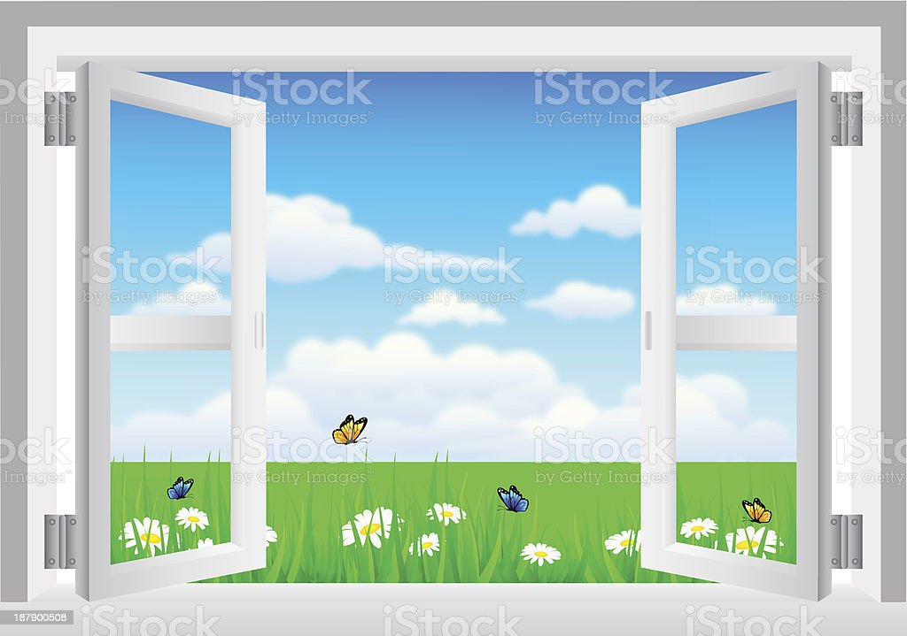 Open White Window with Scenery royalty-free stock vector art