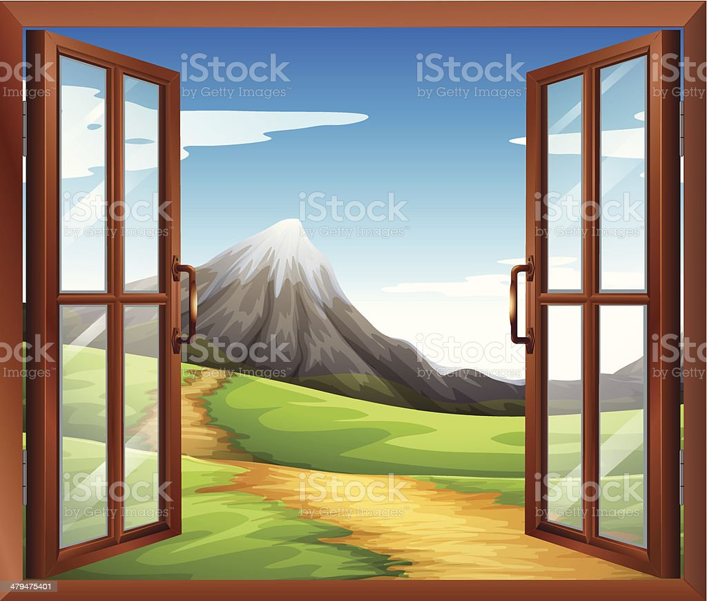 Open window across the mountain royalty-free stock vector art