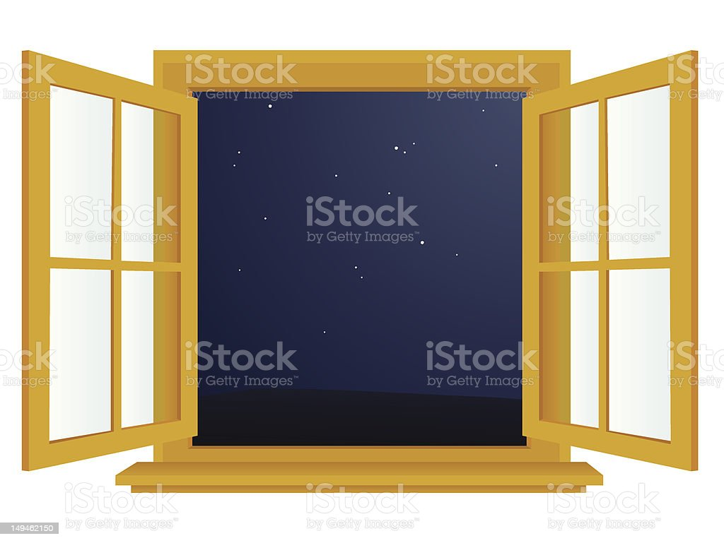Open window at night - Open Window At Night Royalty Free Stock Vector Art
