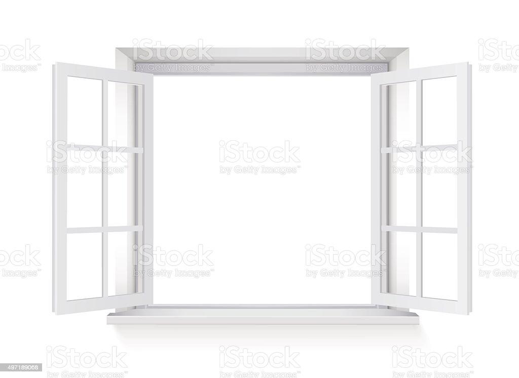 open window isolated on white background vector art illustration
