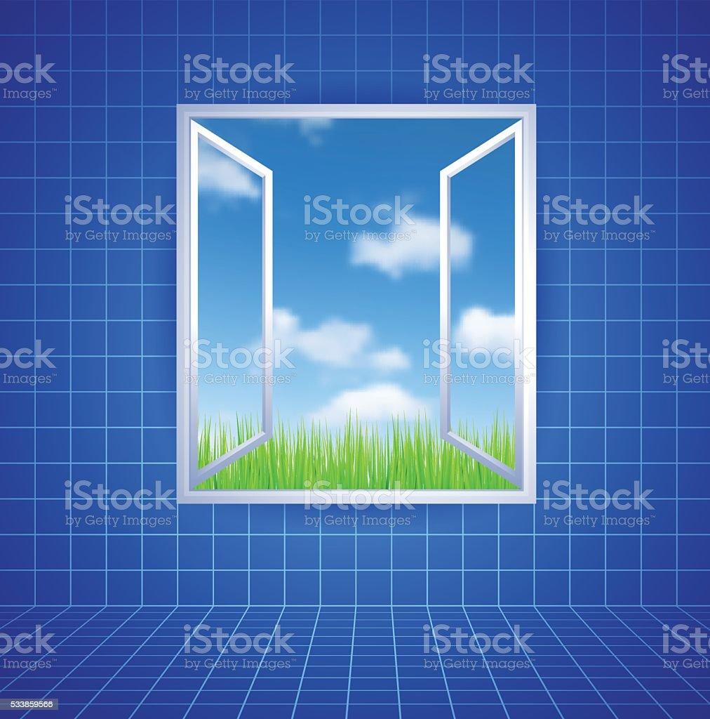 Open window leading to cloudscape vector art illustration