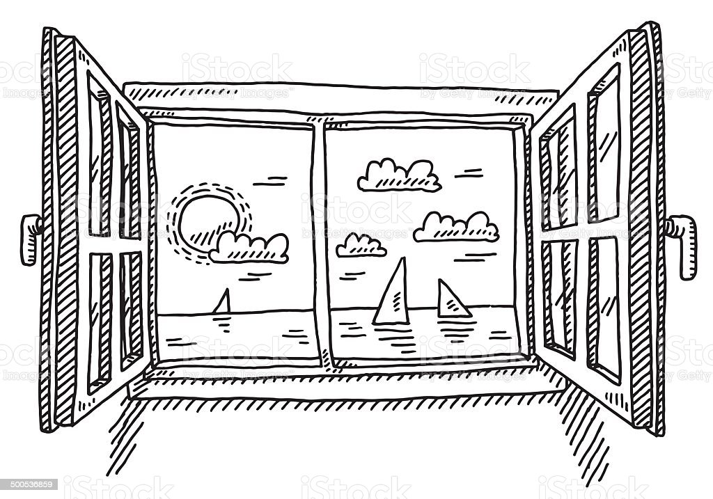Open Window Looking To The Sea Drawing vector art illustration