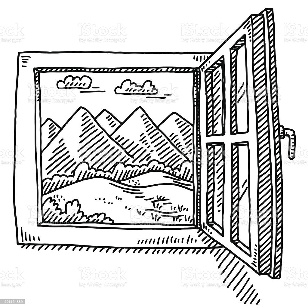 Open window mountain landscape drawing stock vector art for Fenetre de maison