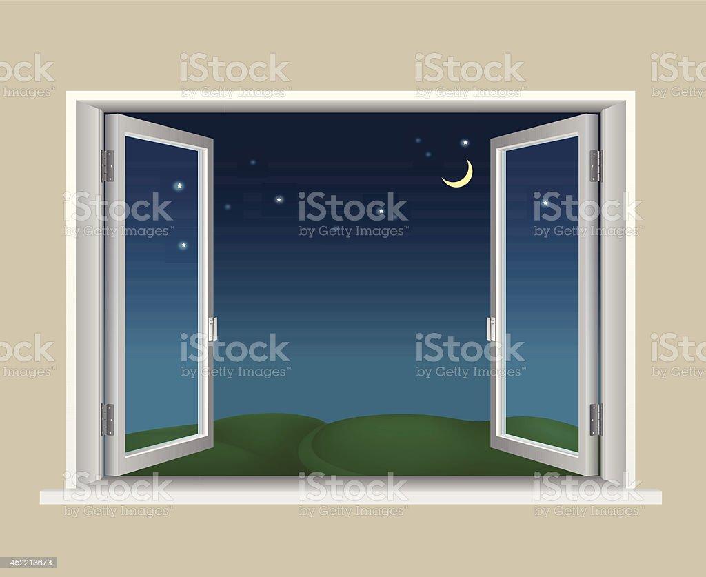 Open window at night -  Open Window Night Vector Art Illustration