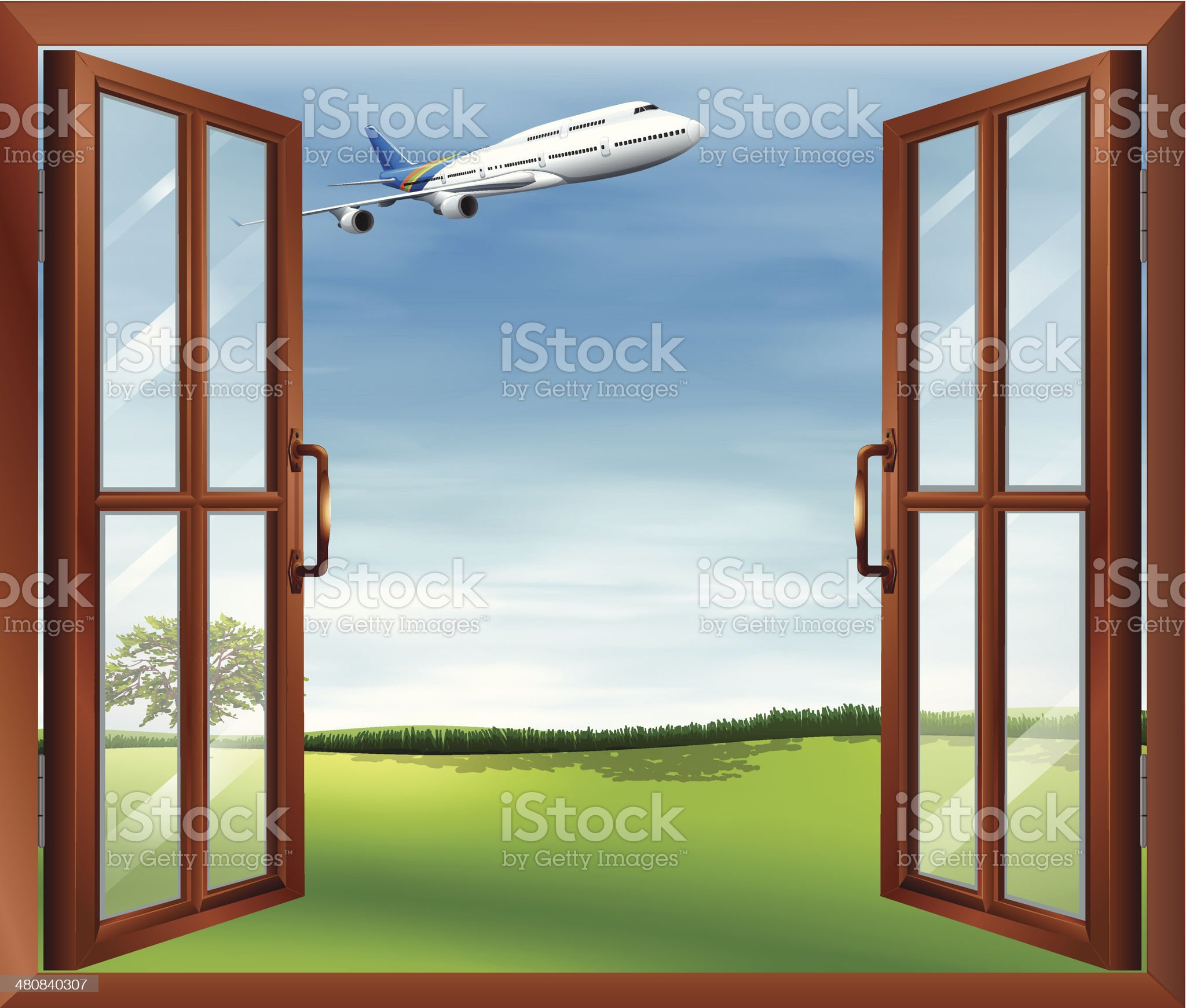 Open window with a view of the plane royalty-free stock vector art