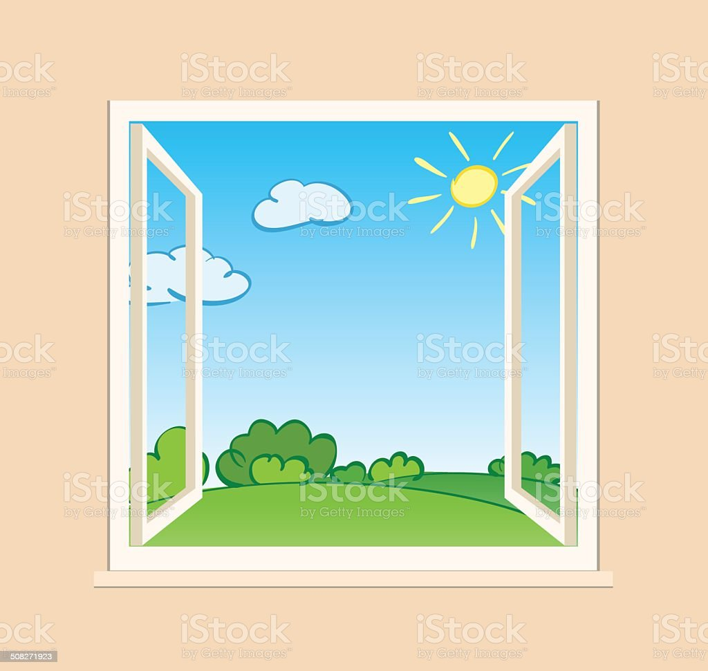 open window with green nature outside - vector royalty-free stock vector art